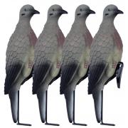 Комплект из 4-х голубей (горлица) на стойках с клипсами, Lucky Duck