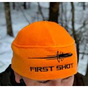 Шапка флисовая с вышивкой First Shot оранжевая