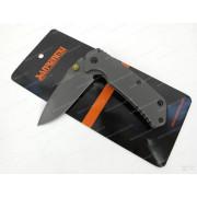 Нож Sanrenmu лезвие 71 мм, рукоять серая, металл, крепление на ремень