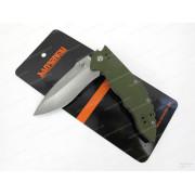 Нож Sanrenmu лезвие 82 мм, рукоять G10 зеленая, крепление на ремень