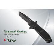 Нож Tekut Ares'son серии Tactical, лезвие 67 мм, рукоять - G10 чёрная, клипса на рем+чехол