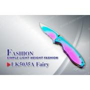Нож Tekut Fairy серии Fashion, лезвие 74 мм чёрное, рукоять - нерж сталь, крепление на ремень