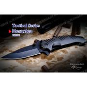 Нож Tekut Heracles серии Tactical, лезвие 98 мм чёрное, рукоять - нерж. сталь чёрная, крепление на ремень