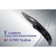 Нож Tekut Sealion серии Fashion, лезвие 47 мм черное, рукоять - нержавеющая сталь с глянцевым покрытием