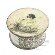 Шкатулка круглая, с изображением собаки