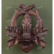 Медальон под клыки кабана с деревянным держателем для клыков, цвет коричневый, модель 112