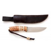 """Нож """"Лиман"""", вар.1, рукоять - береста, рог оленя, """"скримшоу"""", клинок М390"""