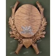 Медальон под клыки кабана с декоративным металлическим держателем, цвет коричневый, модель 219