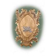 Медальон под клыки кабана с декоративным металлическим держателем, тонир. древесина, модель 136