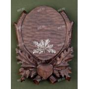 Медальон под клыки кабана с декоративным металлическим держателем, цвет тон. дерево, модель 213
