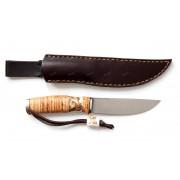 """Нож """"Лиман"""", вар.2, рукоять - береста, рог оленя,""""скримшоу"""", клинок М390"""