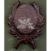 Медальон под клыки кабана с декоративным металлическим держателем, цвет коричневый, модель 220