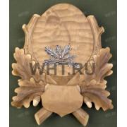 Медальон под клыки кабана с декоративным металлическим держателем, тонир. древесина, модель 143
