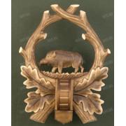 Медальон под клыки кабана с деревянным держателем для клыков, тонированная древесина, модель 137