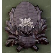 Медальон под клыки кабана с декоративным металлическим держателем, цвет темно-коричневый, модель 143