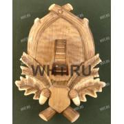Медальон под клыки кабана с деревянным держателем для клыков, тонированная древесина, модель 117