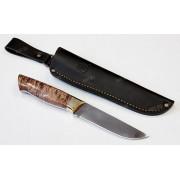 "Нож ""Аквилон"", цельнометаллический клинок, рукоять стаб. древесина шоколад, сталь Х12МФ"
