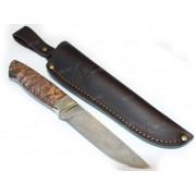 """Нож """"Аквилон"""", цельнометаллический клинок, нерж. дамаск, рукоять стабилизированная древесина"""