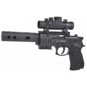 Пистолет пневм. Beretta M92 FS (глушитель, коллиматор, чёрн. с чёрн. пласт. накладками)
