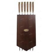 Панно с шампурами с деревянными рукоятями (золотистая патина)