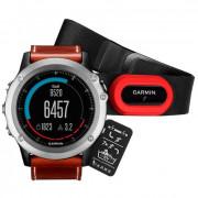 Навигатор-часы Garmin Fenix 3 Sapphire с кожаным ремешком и пульсометром HRM-Run
