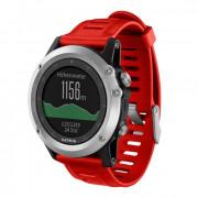 Навигатор-часы Garmin Fenix 3 серебряные с красным ремешком