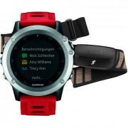 Навигатор-часы Garmin Fenix 3 серебряные с красным ремешком и пульсометром HRM-Run